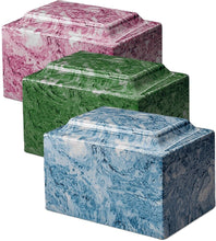 Load image into Gallery viewer, Classic Marble Evergreen Adult 210 Cubic Inches Cremation Urn, TSA Approved