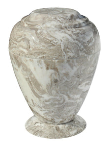 Large 235 Cubic Inch Georgian Vase Perlato Beige Cultured Marble Cremation Urn
