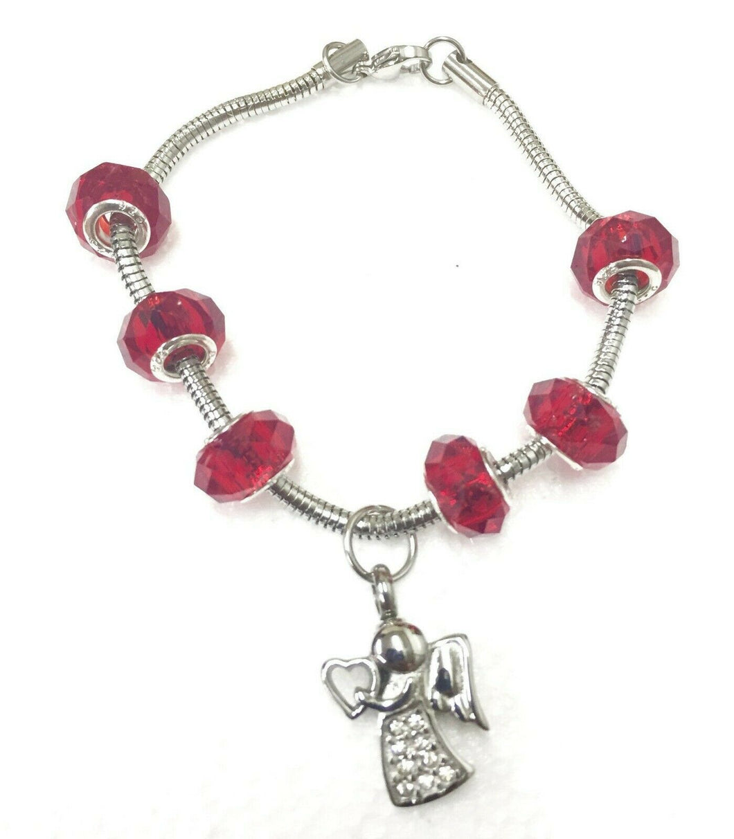 Ruby Red Murano Bead Bracelet Funeral Cremation Urn for Ashes