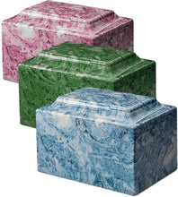 Load image into Gallery viewer, Small Cube Onyx Ruby Keepsake Funeral Cremation Urn, 18 Cubic Inch, TSA Approved
