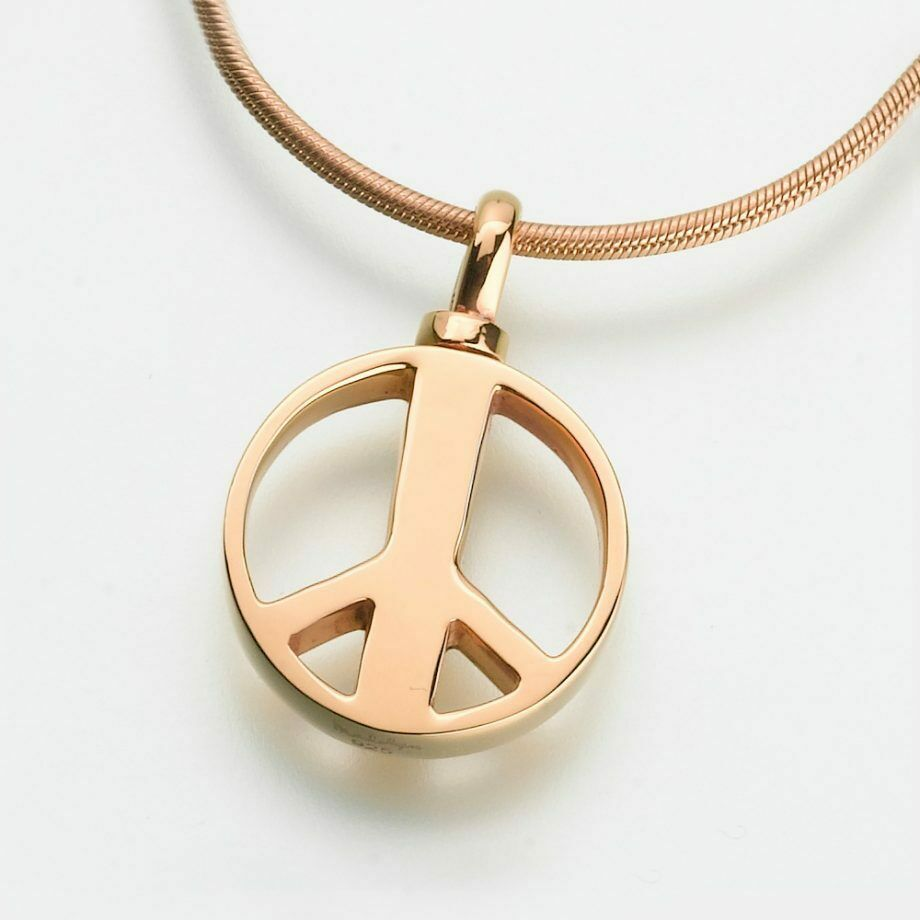 Gold Vermeil Peace Sign Memorial Jewelry Pendant Funeral Cremation Urn