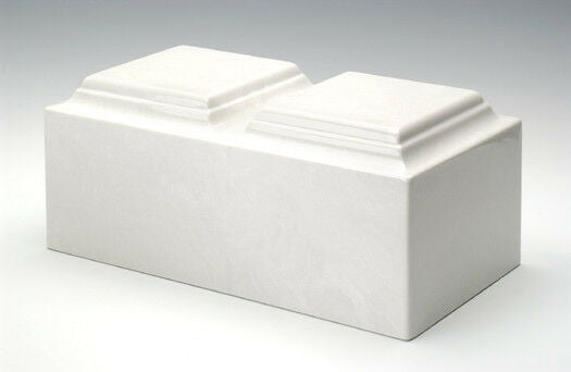 Classic Marble White Companion Adult Cremation Urn, 420 Cubic Inch, TSA Approved
