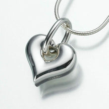 Load image into Gallery viewer, Sterling Silver Puff Heart w Loop Memorial Jewelry Pendant Funeral Cremation Urn