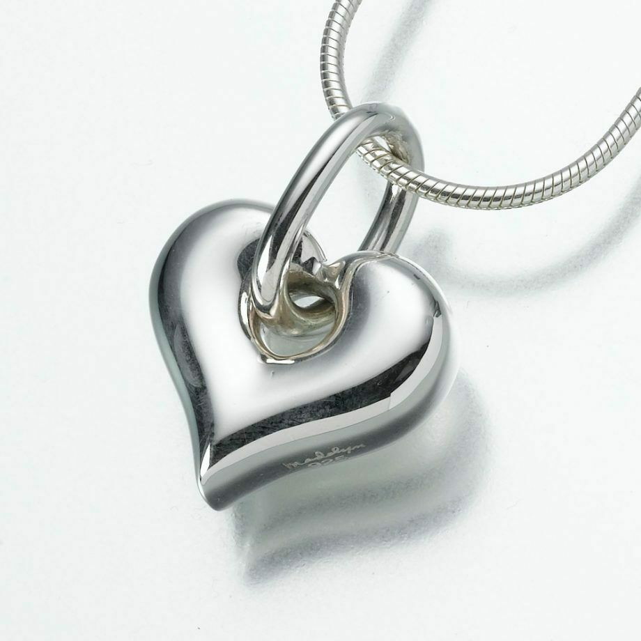 Sterling Silver Puff Heart w Loop Memorial Jewelry Pendant Funeral Cremation Urn