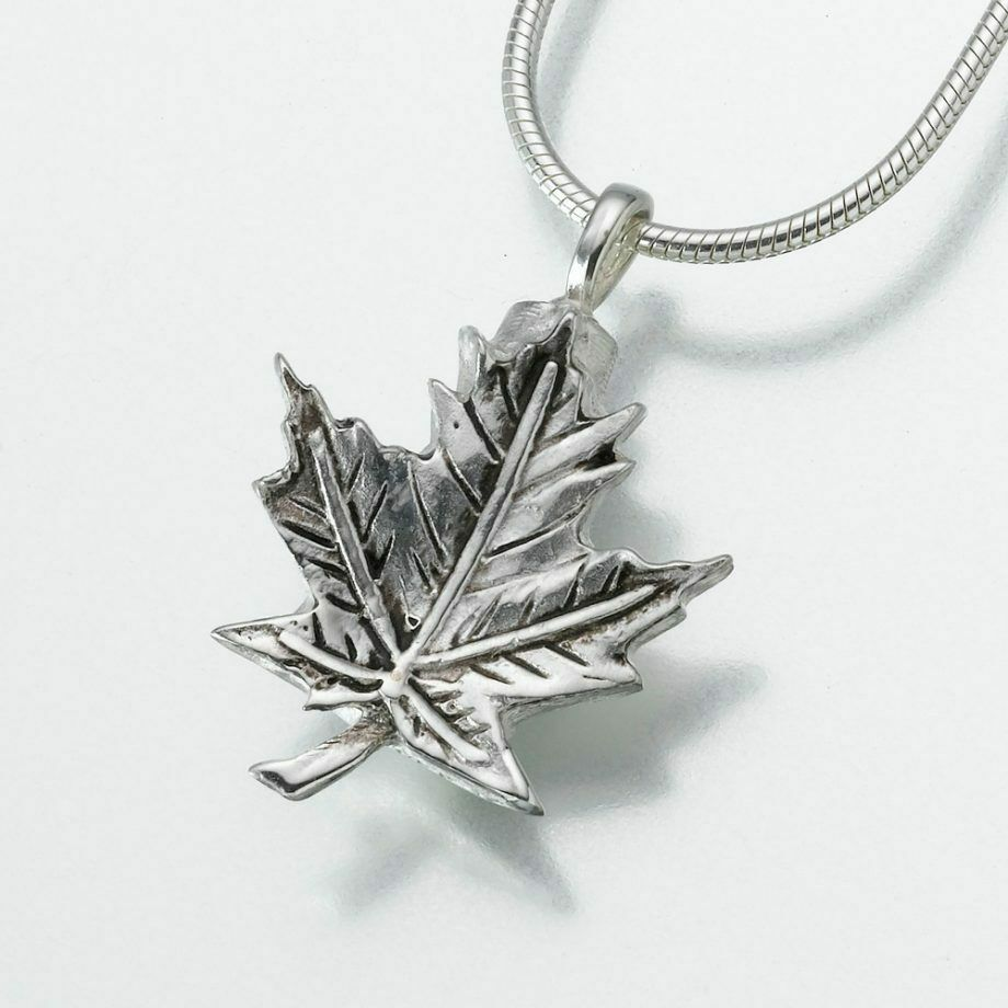 Sterling Silver Maple Leaf Memorial Jewelry Pendant Funeral Cremation Urn