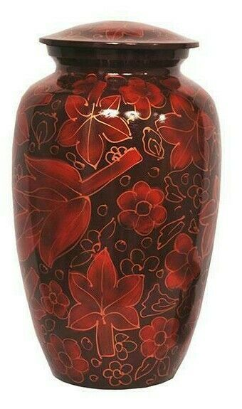 Large/Adult 200 Cubic Inch Metal Crimson Autumn Funeral Cremation Urn for Ashes