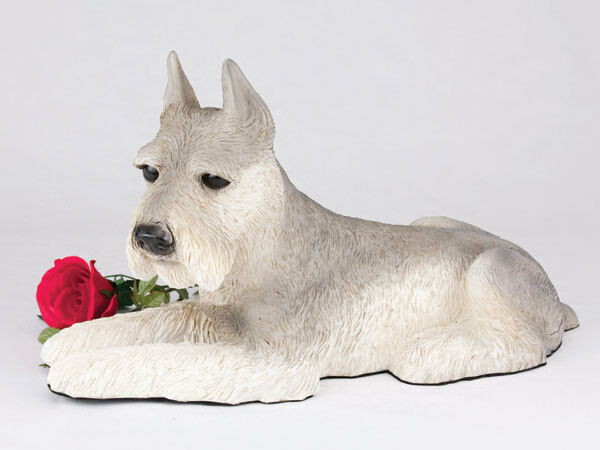 Large 221 Cubic Inches Gray Schnauzer Resin Urn for Cremation Ashes, Ears Up