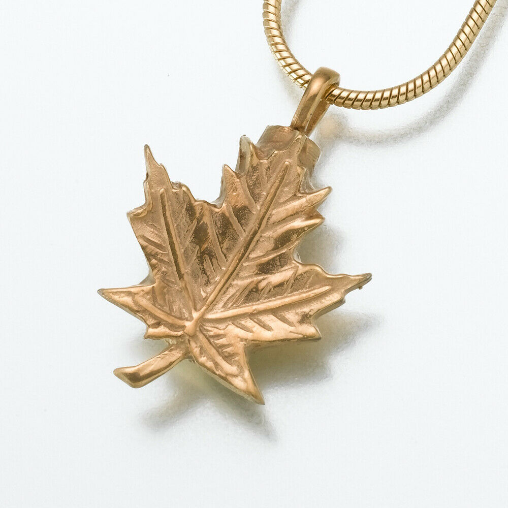 Gold Vermeil Maple Leaf Memorial Jewelry Pendant Funeral Cremation Urn