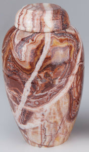 Small/Keepsake 68 Cubic Ins Caramel Marble Vase Funeral Urn for Cremation Ashes