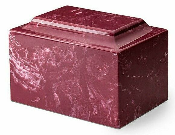 Classic Marble Red 100 Cubic Inches Funeral Cremation Urn For Ashes TSA Approved