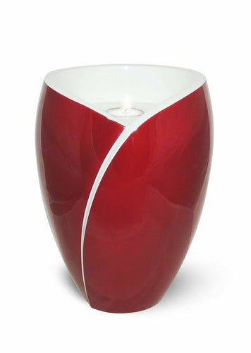 Large/Adult 210 Cubic Inch Fiber Glass Tea Light Funeral Cremation Urn - Red