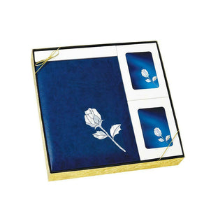 Mother of Pearl Blue Rose Stationery Box Set & 200 Cubic Inch Cremation Urn
