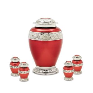 Red Brass Set of Funeral Cremation Urns for Ashes - Large and 4 Keepsakes