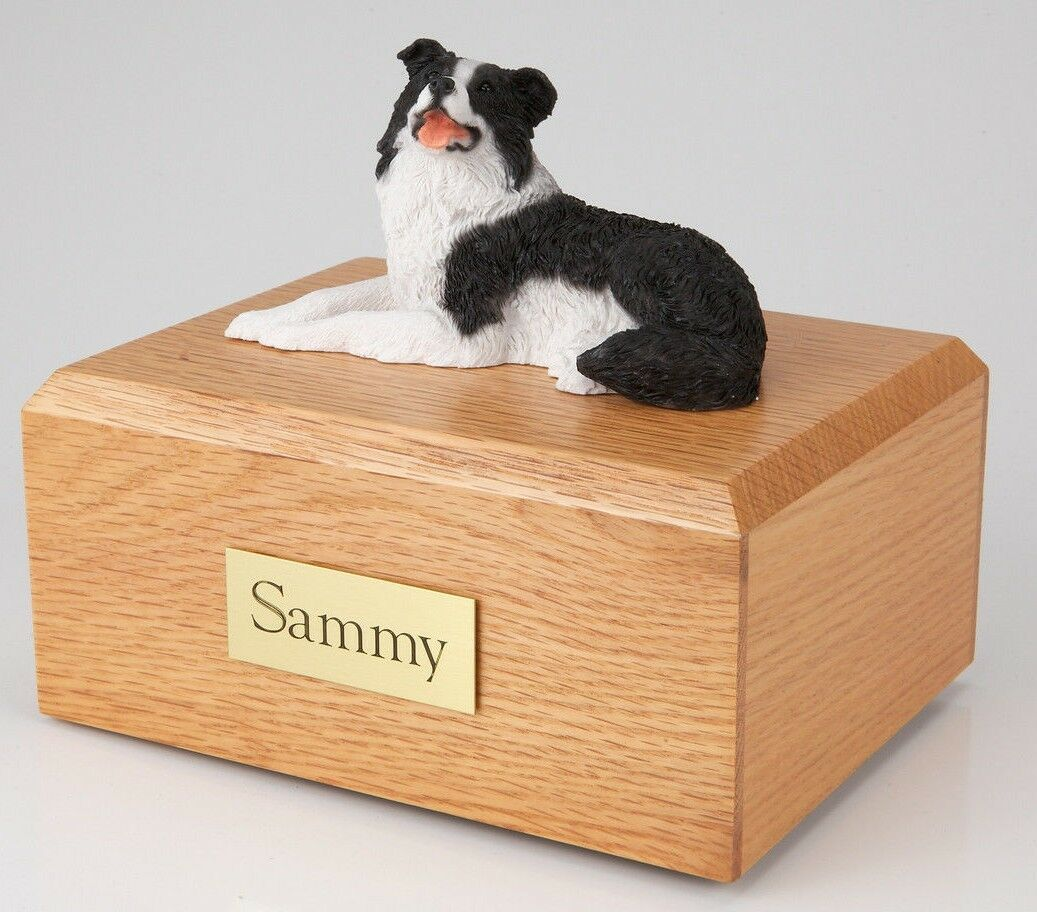 Border Collie Lying Pet Funeral Cremation Urn Avail in 3 Diff Colors & 4 Sizes