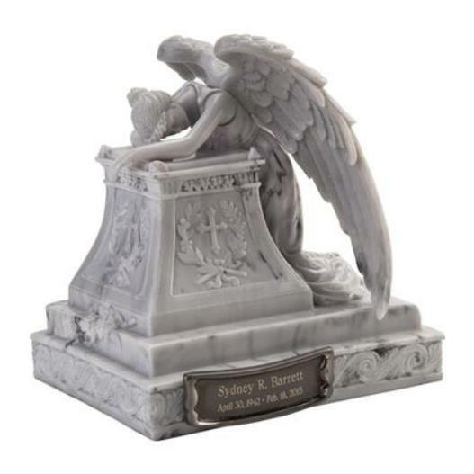 20 Cubic Inch Angel Mourning Sculptured Resin Keepsake Cremation Urn & Nameplate