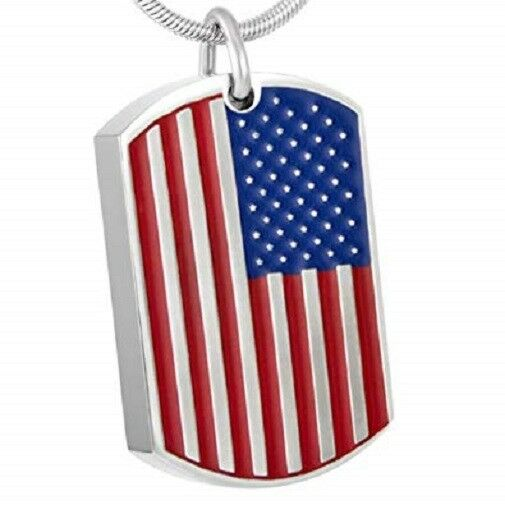 Stainless Steel USA Flag Dog Tag Funeral Cremation Urn Pendant  with Chain