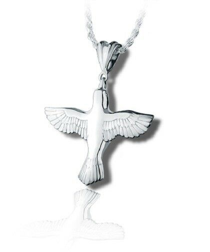 Sterling Silver Peace Dove Funeral Cremation Urn Pendant for Ashes w/Chain