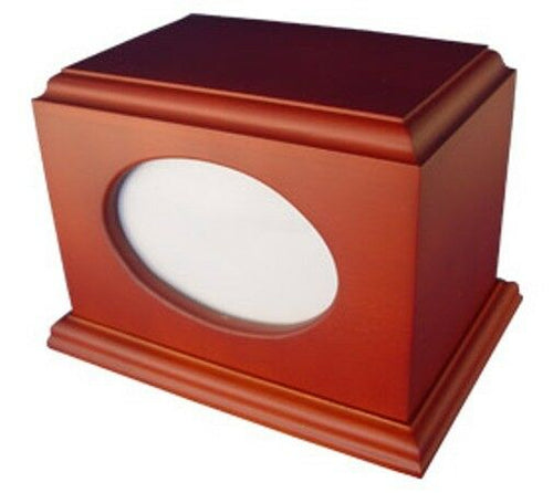 Small/Keepsake Brown Wood 60 Cubic Inches Cremation Urn with Photo Frame