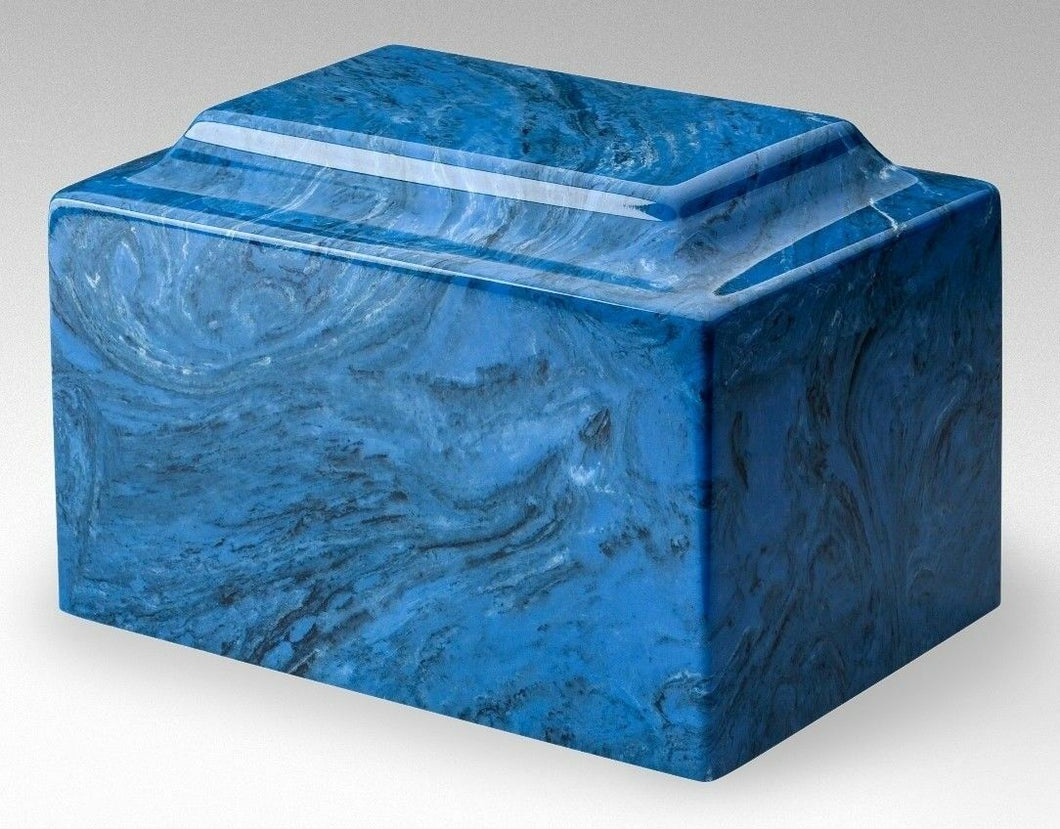 Classic Cultured Marble Blue 25 Cubic Inches Funeral Cremation Urn, TSA Approved