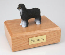 Load image into Gallery viewer, Black White Afghan Hound Pet Funeral Cremation Urn Avail 3 Diff Colors & 4 Sizes