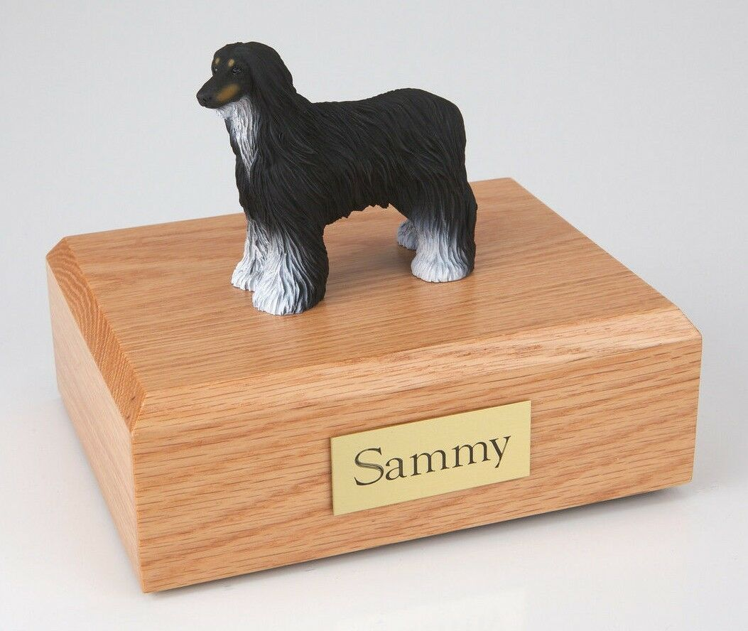 Black White Afghan Hound Pet Funeral Cremation Urn Avail 3 Diff Colors & 4 Sizes