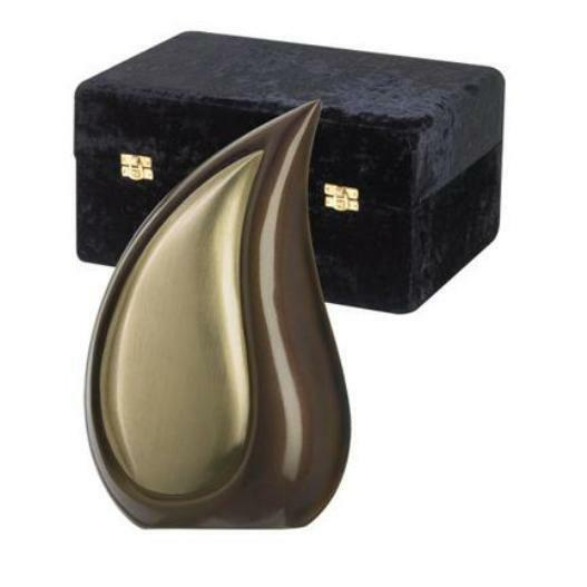Large/Adult 170 Cubic Inches Tear Drop Bronze Brass Cremation Urn with case