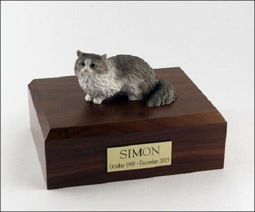 Angora Cat Figurine Gray Pet Cremation Urn Available 3 Different Colors 4 Sizes