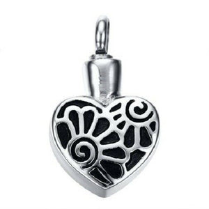 Stainless Steel Heart with Flowers Funeral Cremation Urn Pendant with Chain