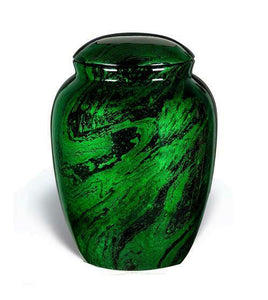 Large/Adult 210 Cubic Inch Fiber Glass Funeral Cremation Urn for Ashes - Green