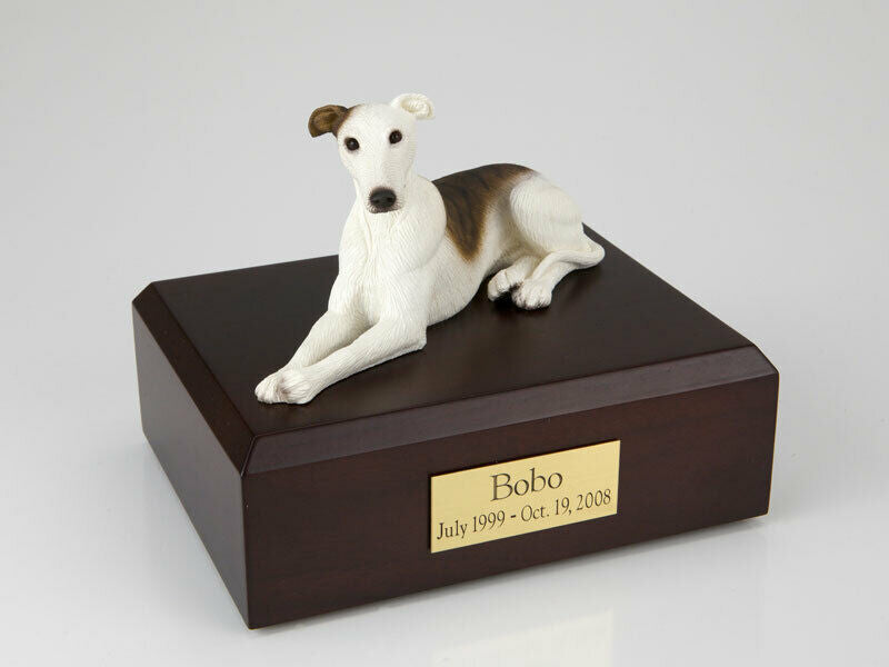 Greyhound White/Brindle Stand Pet Cremation Urn Avail in 3 Diff Colors & 4 Sizes