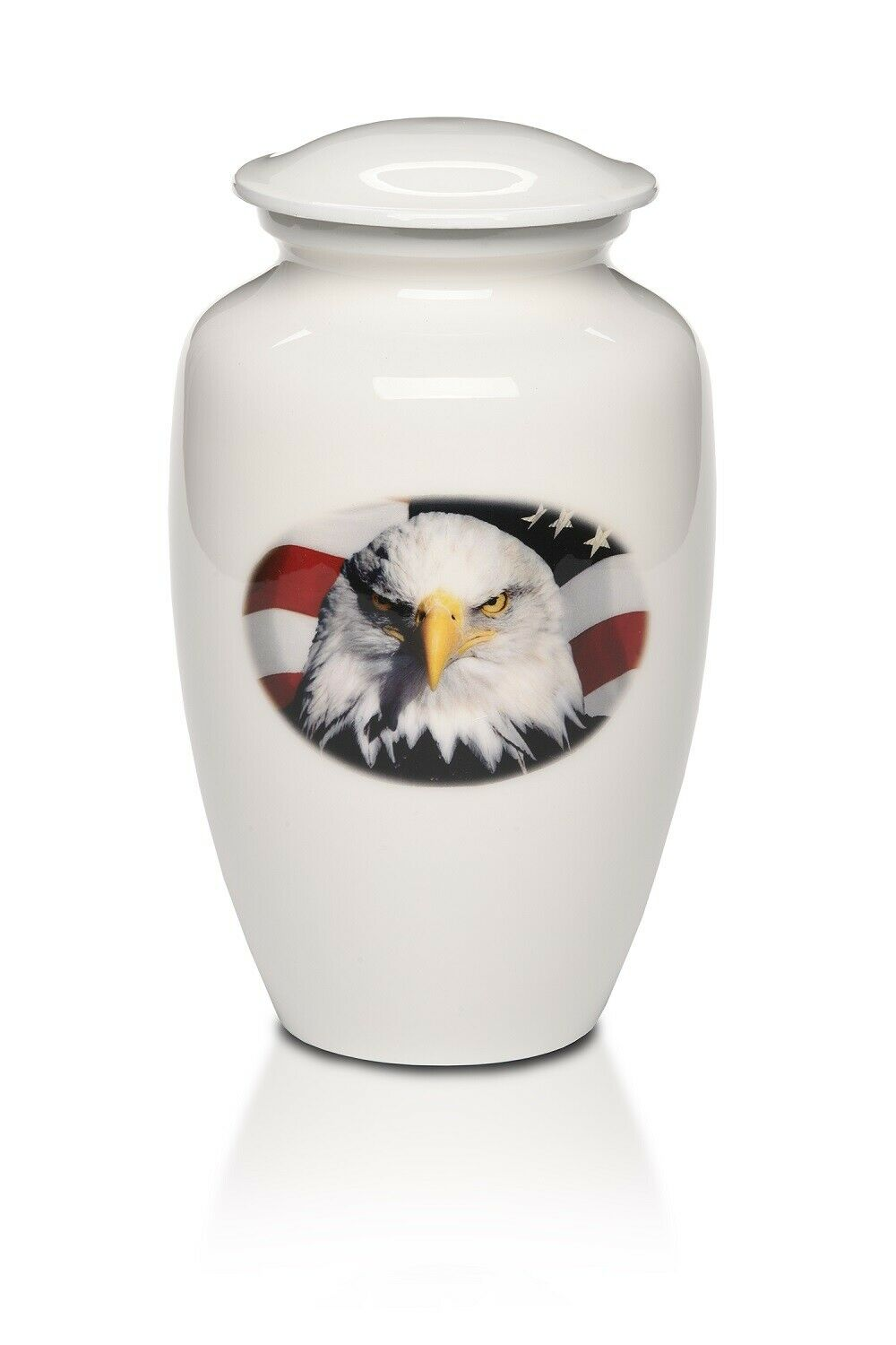 Large/Adult 220 Cubic Inch Alloy Funeral Cremation Urn American Flag with Eagle