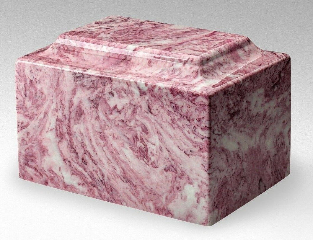 Small/Keepsake Marble Pink & White 5 Cubic Inch Cremation Urn Ashes TSA Approved