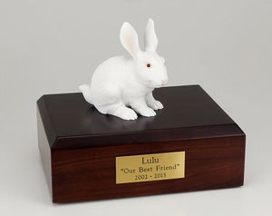 Rabbit White Figurine Pet Cremation Urn Available 3 Different Colors & 4 Sizes