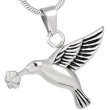 Stainless Steel Hummingbird w/Flower Funeral Cremation Urn Pendant w/Chain