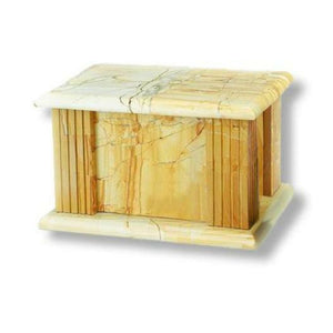 Large/Adult 210 Cubic Inches TeakWood Marble Funeral Cremation Urn for Ashes