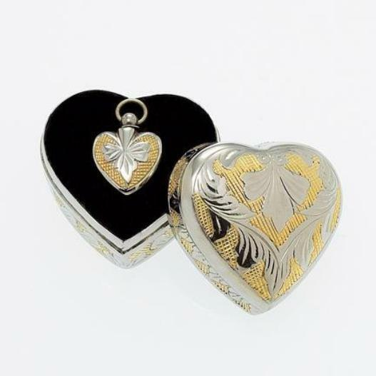 Heart Pendant within a Keepsake Case for Cremation Ashes