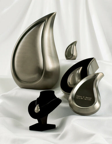 Set of 4 Brushed Pewter Teardrop Cremation Urns - Adult, Pendant & 2 Keepsakes