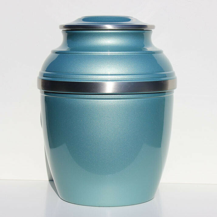 Large/Adult 220 Cubic Inch Pewter Light Blue/Green Calypso Funeral Cremation Urn