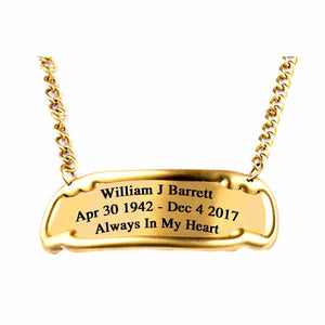 Engraved 3 Inch/3 Line Brass Nameplate Tag For Adult Funeral Cremation Urn -Gold