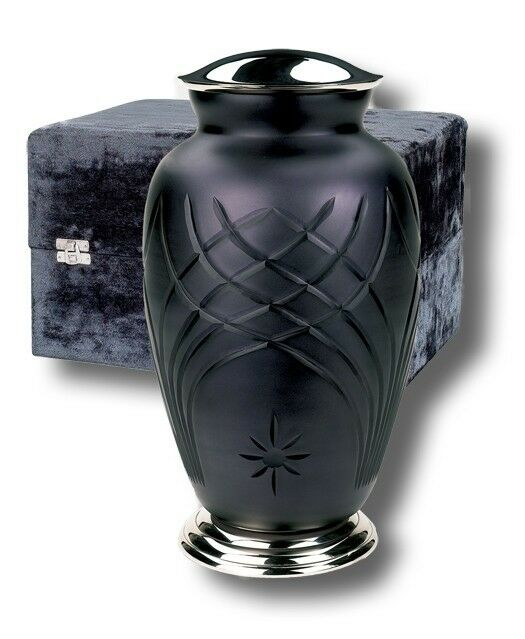 Adult Hand-Cut Art Glass Funeral Cremation Urn with Velvet Box, 212 Cubic Inches