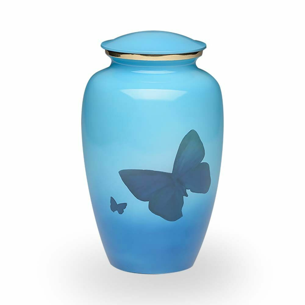 Large/Adult 200 Cubic Inch Blue Brass Funeral Cremation Urn w/Butterflies