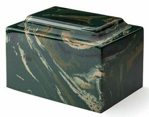 Classic Cultured Marble Black & Beige 25 Cubic Inches Cremation Urn TSA Approved