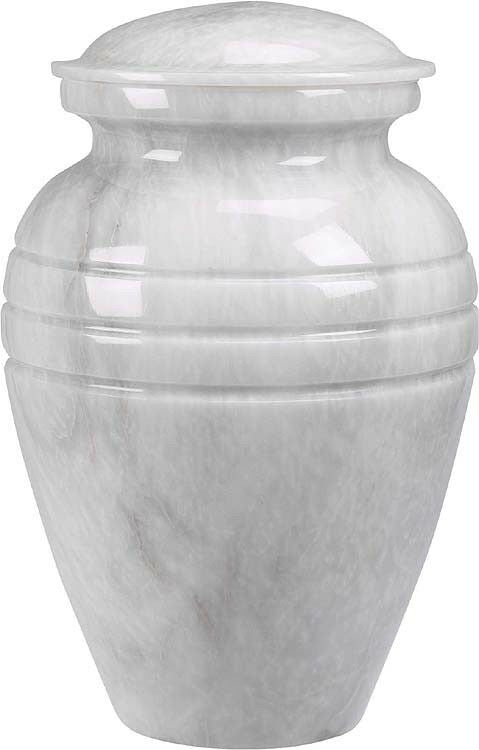 White Colored, Adult Funeral Cremation Urn made out of a block of Solid Marble