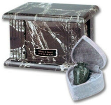 Load image into Gallery viewer, Set of Adult (210 cubic in) & Keepsake (3 in) Marble Cremation Urns w/nameplate