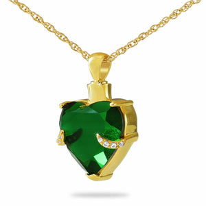 14K Solid Gold Crystal Heart Pendant/Necklace Funeral Cremation Urn for Ashes
