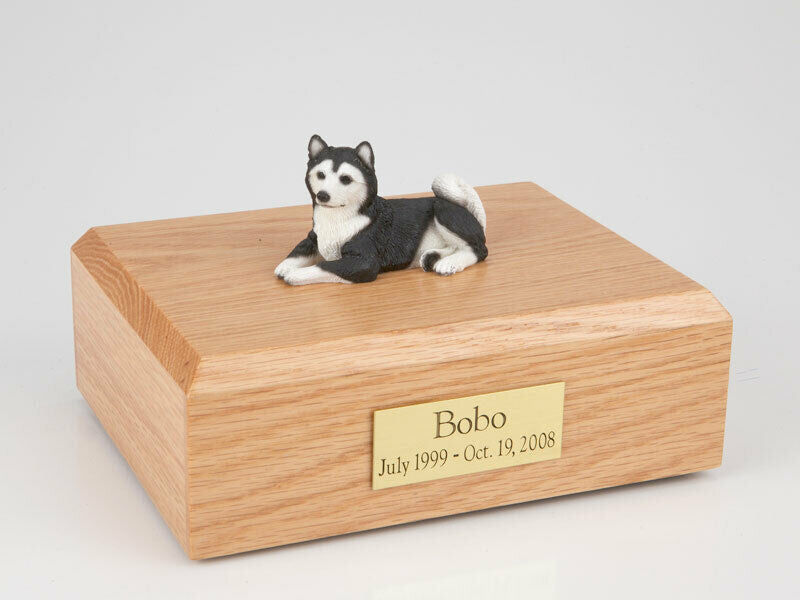 Husky Dog Black Stand Pet Cremation Urn Available in 3 Different Colors & 4 Size