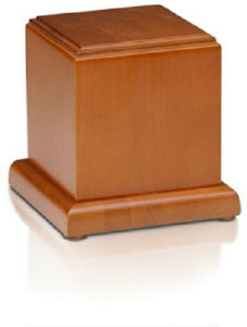 Small/Keepsake 40 Cubic Inch Honey Birch Wood Cube Funeral Cremation Urn