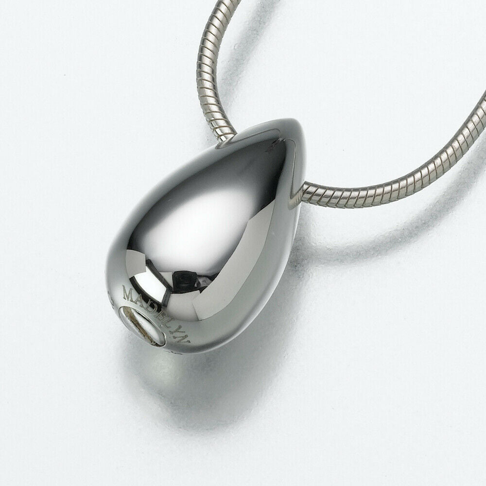 Sterling Silver Slide Teardrop Pendant Funeral Cremation Jewelry Urn For Ashes