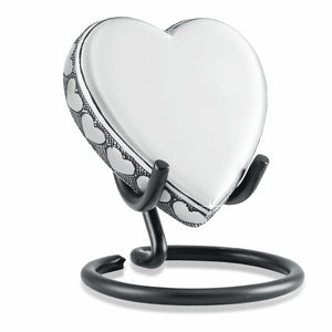 Small/Keepsake 3 Cubic Inch Heart on Stand Pewter Cremation Urn for Ashes