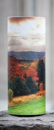 Small/Keepsake 90 Cubic In. Autumn Trees Scattering Tube Cremation Urn for Ashes